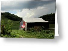 Barn In The Usa Greeting Card by Karen Wiles