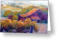 Barn Vineyard Greeting Card by Carolyn Jarvis