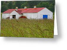 Barn With Blue Door Greeting Card by Art Block Collections