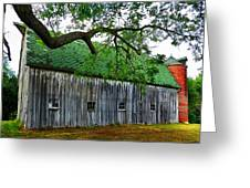 Barn With Brick Silo Greeting Card by Julie Dant