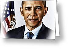 Barrack Obama Greeting Card by Tyler Robbins