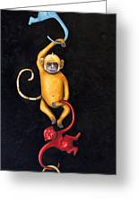 Barrel Of Monkeys Greeting Card by Leah Saulnier The Painting Maniac