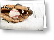 Baseball And Mitt Greeting Card by Jennifer Huls