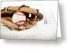 Baseball And Mitt Greeting Card by Jennifer Huls