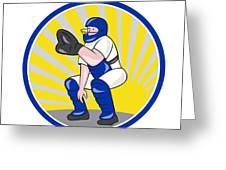 Baseball Catcher Catching Side Circle Greeting Card by Aloysius Patrimonio