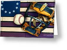 Baseball Catchers Mask Vintage On American Flag Greeting Card by Paul Ward
