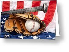 Baseball Equipment On American Flag Greeting Card by Joe Belanger