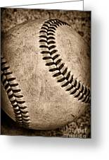 Baseball Old And Worn Greeting Card by Paul Ward