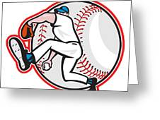 Baseball Pitcher Throw Ball Cartoon Greeting Card by Aloysius Patrimonio