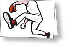 Baseball Pitcher Throwing Ball Cartoon Greeting Card by Aloysius Patrimonio