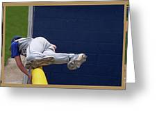 Baseball Playing Hard 3 Panel Composite 02 Greeting Card by Thomas Woolworth