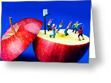 Basketball Games On The Apple Little People On Food Greeting Card by Paul Ge