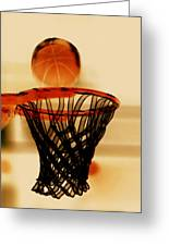 Basketball Hoop And Basketball Ball 1 Greeting Card by Lanjee Chee