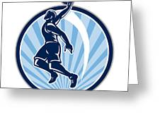 Basketball Player Dunk Ball Retro Greeting Card by Aloysius Patrimonio