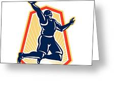 Basketball Player Dunk Rebound Ball Retro Greeting Card by Aloysius Patrimonio