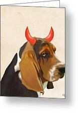 Basset Hound With Devil Horns Greeting Card by Kelly McLaughlan