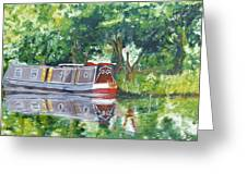 Bateau Sur Riviere Greeting Card by Isabella Abbie Shores