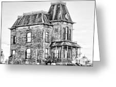 Bates Motel Haunted House Black And White Greeting Card by Paul W Sharpe Aka Wizard of Wonders