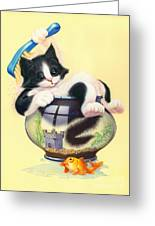 Bath Time Greeting Card by Andrew Farley