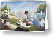 Bathing At Asnieres Greeting Card by George-Pierre Seurat