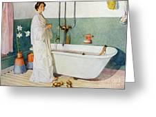Bathroom Scene Lisbeth Greeting Card by Carl Larsson