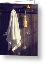 Bathroom Towel Greeting Card by Amanda And Christopher Elwell