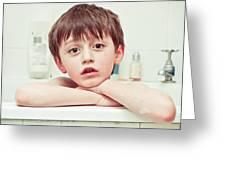 Bathtime Greeting Card by Tom Gowanlock