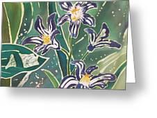 Batik Macro - Pushkinia Greeting Card by Anna Lisa Yoder