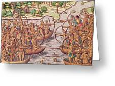 Battle Between Indian Tribes Greeting Card by Jacques Le Moyne