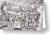 Battle Between Tuppin Tribes Greeting Card by Theodore De Bry