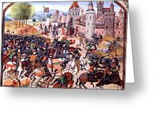 Battle Of Nevilles Cross 1346 Greeting Card by Photo Researchers
