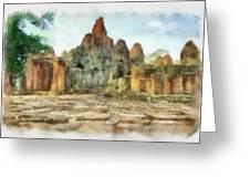 Bayon Temple Greeting Card by Teara Na