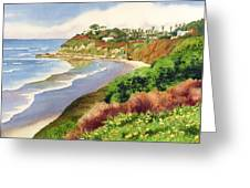 Beach At Swami's Encinitas Greeting Card by Mary Helmreich