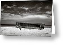 Beach Bench Greeting Card by Dave Bowman
