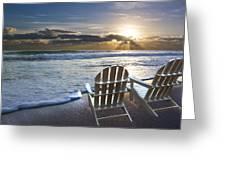 Beach Chairs Greeting Card by Debra and Dave Vanderlaan