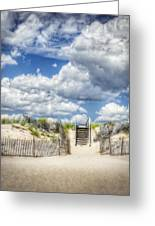 Beach Clouds And Fence Greeting Card by Vicki Jauron