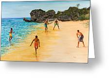 Beach Cricket Greeting Card by Victor Collector