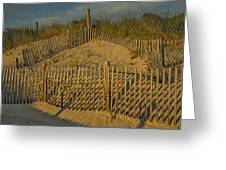 Beach Fence Greeting Card by Susan Candelario