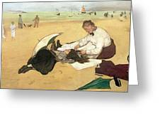 Beach Scene Little Girl Having Her Hair Combed By Her Nanny Greeting Card by Edgar Degas