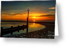 Beach Sunset Greeting Card by Adrian Evans