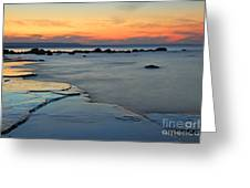 Beach Sunset Greeting Card by Charline Xia