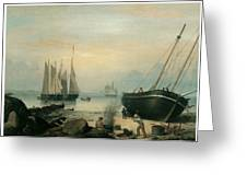 Beached For Repairs Duncan's Point Gloucester Greeting Card by Fitz Hugh Lane