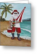 Beachen Santa Greeting Card by Darice Machel McGuire