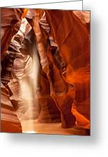 Beam Of Light In Upper Antelope Canyon Greeting Card by Susan  Schmitz