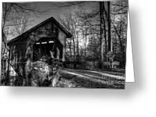 Bean Blossom Bridge bw Greeting Card by Mel Steinhauer