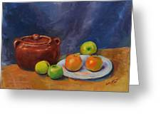 Bean Pot And Fruit Greeting Card by Susie Jernigan