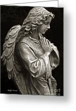 Beautiful Angel Praying Hands Christian Art Print Greeting Card by Kathy Fornal