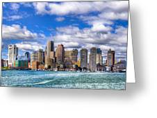Beautiful Boston Skyline From The Harbor Greeting Card by Mark E Tisdale