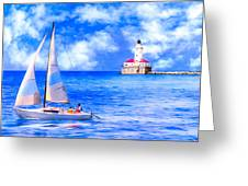 Beautiful Day For Sailing - Chicago Harbor Light Greeting Card by Mark Tisdale