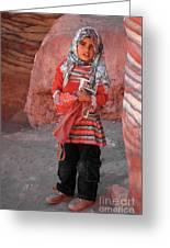 Beautiful Girl At Petra Jordan Greeting Card by Eva Kaufman